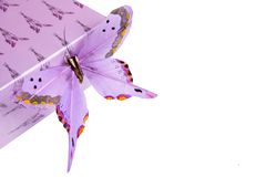 Present box and butterfly. Present box and false butterfly,isolated Stock Photography