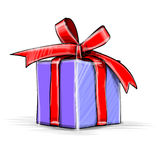 Present box cartoon sketch vector illustration Stock Image
