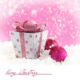 Present box with Christmas balls stock photography