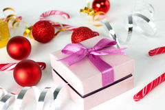 Present box and christmas decoration Royalty Free Stock Image