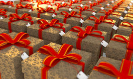 Present Box Computer Generated Image. Array of present boxes computer generated image stock images