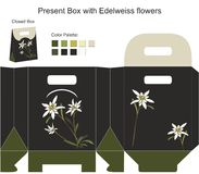 Present box with edelweiss flowers Royalty Free Stock Photography