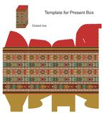 Present box with ethnic ornaments Stock Images