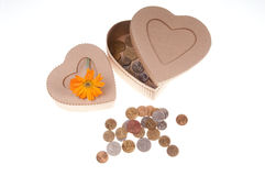 Present box with a flower and coins Royalty Free Stock Photos