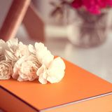 The perfect gift for mom. Present box and flowers for her - Mother's day ideas, happy giving and holiday inspiration concept. The perfect gift for mom royalty free stock images