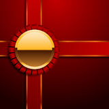 Present box gold and red top view eps 10 Royalty Free Stock Images