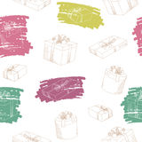 Present box graphic color seamless pattern illustration Stock Photography