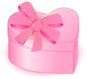PRESENT BOX HEART closed. Present box heart pink bow vector graphic Royalty Free Stock Photo