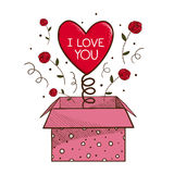 Present box with heart. Royalty Free Stock Image