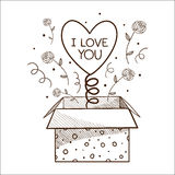 Present box with heart. Stock Photo