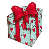 Present box with hearts and bow isolated on white. Stock Photography