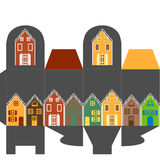 Present box with houses. Cute present box Stock Images