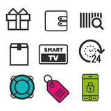 Present box icon. Smart TV symbol. Lifebouy icon. Price tag sign. 24h open and Package icons. Eps10 Vector Royalty Free Stock Photography