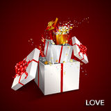 Present box inside present box on red background. Royalty Free Stock Photos