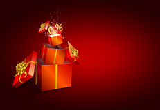 Present box inside present box on red background. Stock Photos