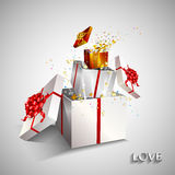 Present box inside present box on white background. Stock Image