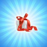 Present box with light blue background Royalty Free Stock Image