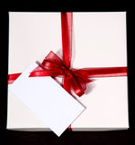 Present-box with note Royalty Free Stock Photography