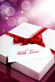 Present-box with note Royalty Free Stock Photos