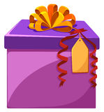 Present box with orange ribbon Royalty Free Stock Images
