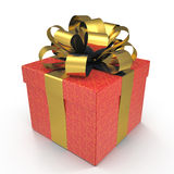 Present box with overwhelming bow isolated on white. 3D illustration, clipping path Stock Photos
