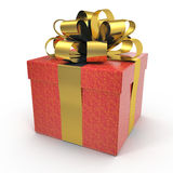 Present box with overwhelming bow isolated on white. 3D illustration, clipping path Royalty Free Stock Photography