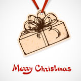 Present box paper label. Christmas and New year Stock Photos