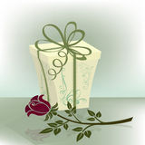 Present box with purple rose Royalty Free Stock Images