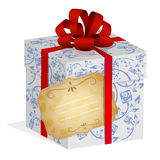 Present box with red ribbon Stock Photo