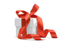 Present box with red ribbon Royalty Free Stock Images