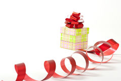 Present box with red ribbon bow Stock Photo