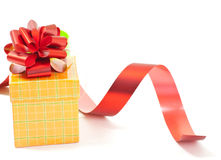 Present box with red ribbon bow Stock Images
