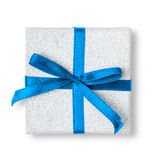 Present box with ribbon isolated Royalty Free Stock Images