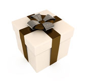 Present box with ribbons and bows, isolated. On white with clipping path Royalty Free Stock Images