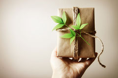 Present box rustic style Royalty Free Stock Image
