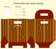 Present box with stripes design Royalty Free Stock Photos