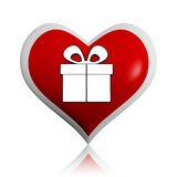 Present box symbol in red heart banner Royalty Free Stock Photography