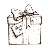 Present box with thank you text. Stock Photos