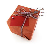 Present box whith lavander flower Royalty Free Stock Image
