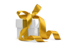 Present box with yellow ribbon Royalty Free Stock Image