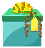 Present box with yellow ribbon Royalty Free Stock Photo