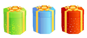 Present_boxes. A set of present boxes in different colours Stock Images
