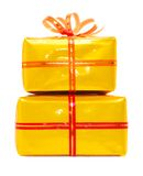 Present boxes. In gold wrap on white Royalty Free Stock Photography