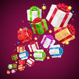 Present Boxes Background for Cards. Vector Royalty Free Stock Photo