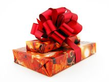 Present. Boxes and bow. Present. boxes and bow on white Royalty Free Stock Images