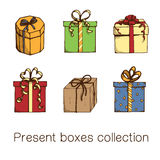 Present boxes collection. Royalty Free Stock Images