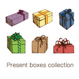 Present boxes collection. Royalty Free Stock Photos
