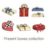 Present boxes collection. Stock Photos
