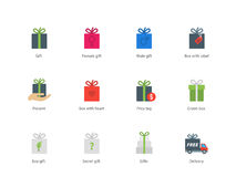 Present boxes color icons on white background Stock Images