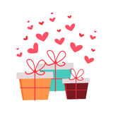 Present Boxes with Hearts Valentines Day Concept. Royalty Free Stock Image